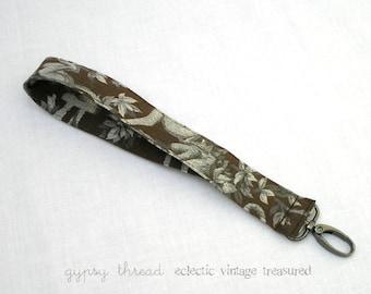 Wrist Strap, Wristlet Strap, Brown Monkey Print, Interchangeable, Removable