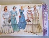 1970s Wedding Dress Pattern, Simplicity 6278 Tiered Boho Prairie Folk Bridal Dress, Maxi Dress Pattern, Misses Size 8 Bust 31.5