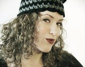 RESERVED - the Cheshire Cat cloche - hand crochet cat ear hat in black and grey