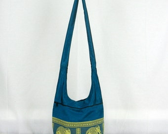 Silk Sling Bag Purse Hippie Hobo Crossbody Messenger Thai Elephant Handmade Lined in Blue