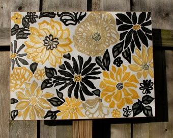 Black and Yellow Flower Original Acrylic Painting on Canvas