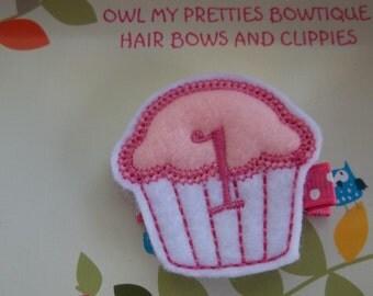 1st Birthday CUPCAKE Pink White Felt Hair Clippie Baby Girl