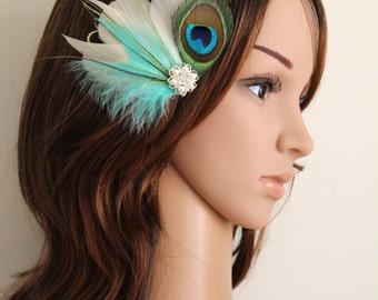 Wedding Bridal Ivory Aqua Green Lime Peacock Feather Pearl Rhinestone Head Piece Hair Clip Fascinator Accessory
