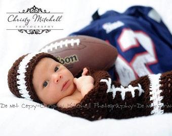 Football Cocoon & Hat Photo Prop Crochet - Newborn