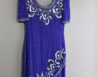 GATSBY STYLE- Beaded and sequin detail cobalt blue wiggle dress- amazing vintage- small SALE