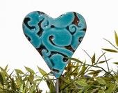Heart garden art - plant stakes - garden markers - garden decor - heart ornament - ceramic heart - large - turquoise