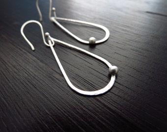 Modern lightweight dangle earrings, sterling silver earrings, teardrop hoops
