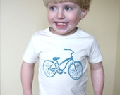 Natural Bicycle in Teal Toddler Shirt - Organic Clothing Bike Tee - Fair Trade Certified- Eco friendly 2T , 4T , 6T Children's Clothes