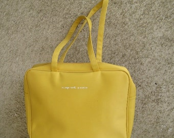 Vintage Tote Bag Yellow Zippered Handles / Synthetics Excellent condition Bag / Women Accessories / Travel Trendy Bag