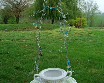 Bird Feeder / Recycled Vintage China Garden Bird Feeder / Beaded Wire Hanging Bird Feeder / Garden Decor
