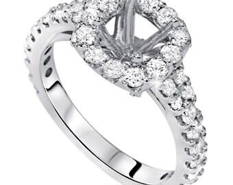 1.70CT Cushion Halo Diamond Engagement Ring Setting Semi Mount Vintage Antique Style 14KT White Gold Fits 5.5 Stone