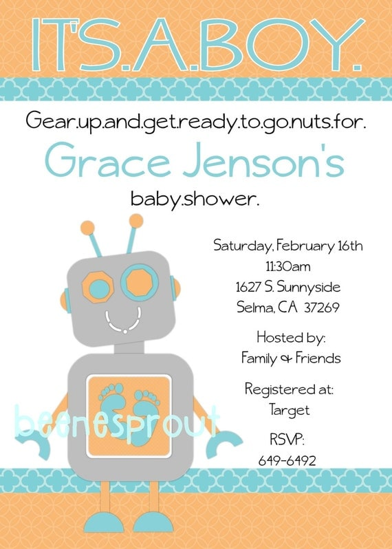robot baby shower invitation by beenesprout on etsy