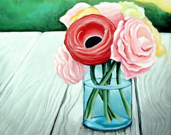 Flowers in a Mason Jar - Painting Print