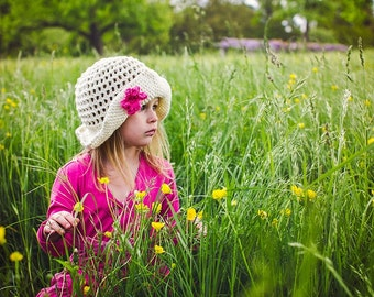 Crochet Pattern for Madeline Sun Hat - Floppy Brim hat - 5 sizes, baby to adult - Welcome to sell finished items