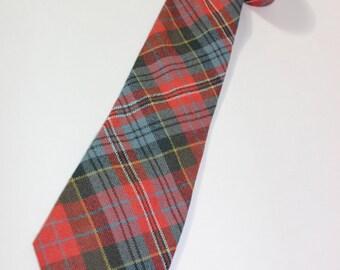 vintage 70's - 80's Men's wool neck tie. Scottish Tartan...Clan MacPherson 'Ancient'.  Made in Scotland