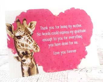 Mother's Birthday Card (English) - Printable PDF Happy Birthday Card, Mother's Day Card, Thank you Card