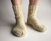 Undyed Unbleached White Hand Knitted Woolen Socks - 100% Natural Organic Socks
