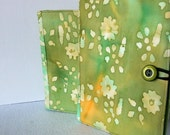 Kindle, Nook, Kobo E-Reader Cover/Book  Tie Died Green Tea and Flower E-Cover