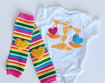 Scales of Justice Lawyer One Piece Bodysuit with Rainbow Heart Leg Warmers