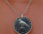 HUNGARIAN COIN JEWELRY. hungary coin necklace pendant. chain. 50 florint. hawk. bird. peregrine. animal coin.1995 1996 No.001364