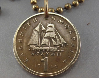 GREECE Necklace.Greek Jewelry.Greece coin jewelry.boat COIN necklace.sailing necklace.sailor.mens necklace. drachma . mens pendant No.001499