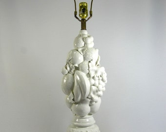 Table Lamp Mid Century Blanc de Chine Topiary Fruit Form Italian Made
