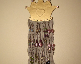 Jewelry Organizer Hanging Jewelry Holder Display with Gold Foil Glass Hand Beaded Hanger 'First Crown'