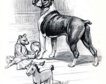 Boston Terrier Vintage Dog Print, Edwin Megargee Illustration, 1950s Dog Picture, Great to Frame, Black and White