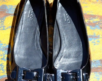 vtg Authentic GUCCI Italy Black Patent LEATHER Peep Toe Flats Metal Buckle 8