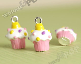 1 - 3D Pink and Yellow Cupcake Enamel Kawaii Foodie Charm, 18mm x 13mm (6-6H)