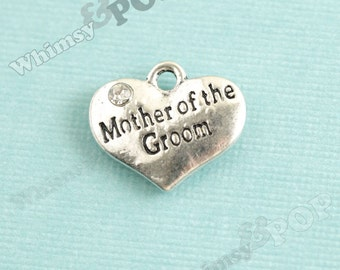 1 - Tibetan Silver Rhinestone Bridal Party Heart Tag Charms, Mother of the Groom Charm, 16mm x ...