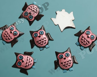 3 - Pink and Brown Wise Owl Flatback Cabochons, Owl Cabochons, 26mm (R6-006)