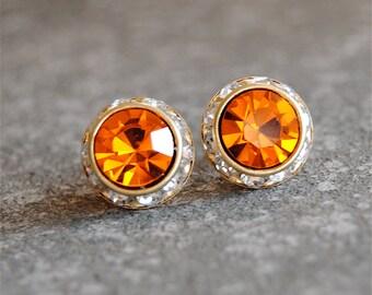 Vintage Orange Earrings Small Sugar Sparklers Swarovski Crystal Orange Diamond Rhinestone Vintage Stud Earrings Mashugana