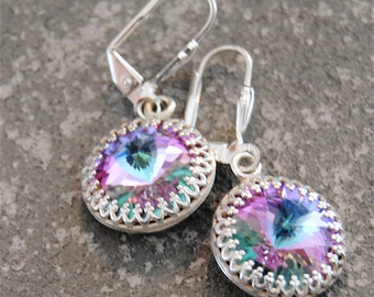 Light Purple Rainbow Earrings Super Sparklers Victorian Queen Swarovski Light Purple Rainbow & Silver Crown Dangle Earrings Mashugana