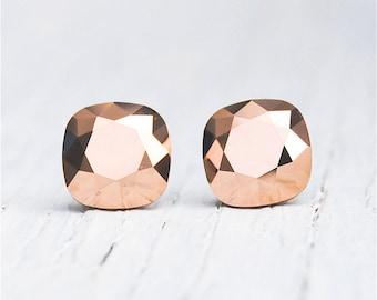 Rose Gold Metallic Earrings Swarovski Crystal Rose Gold Metallic Square Stud Earrings Mashugana