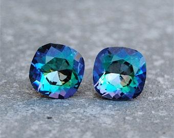 Purple Blue Rainbow Earrings Swarovski Crystal Pastel Rainbow Square Stud Earrings Mashugana