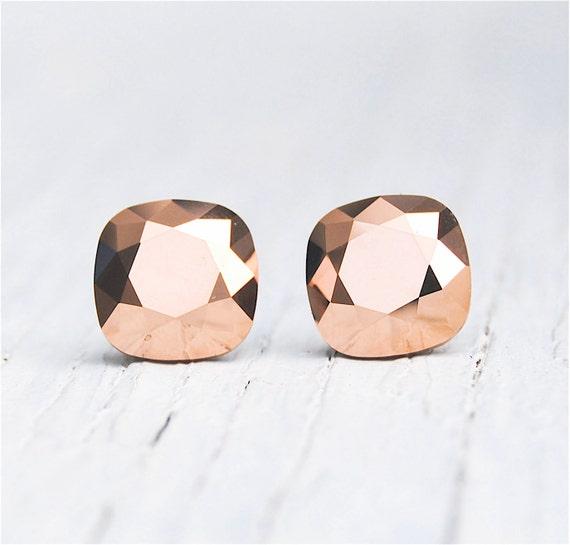 Rose Earrings Etsy Rose Gold Metallic Earrings