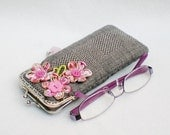 Pink Flowers Grey Glasses Case, Reading Glasses Case, Metal Frame Purse