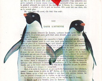 Giclee Prints posters Acrylic paintings Illustration Original Drawing Mixed Media Art digital typography Valentine's Day: Penguins in Love