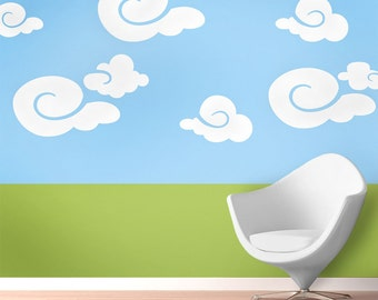 Cloud Wall Mural Stencil Kit Baby Nursery or Kids Room (stl1014)
