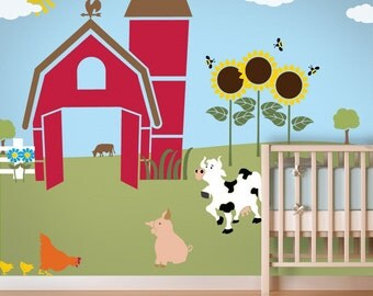 Farm Wall Mural Stencil Kit for Kids Room or Baby Nursery (stl1003)