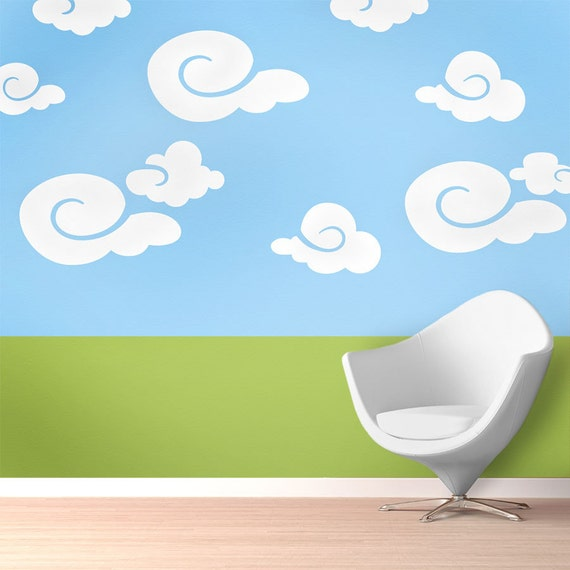 Cloud wall mural stencil kit baby nursery or kids room for Clouds wall mural
