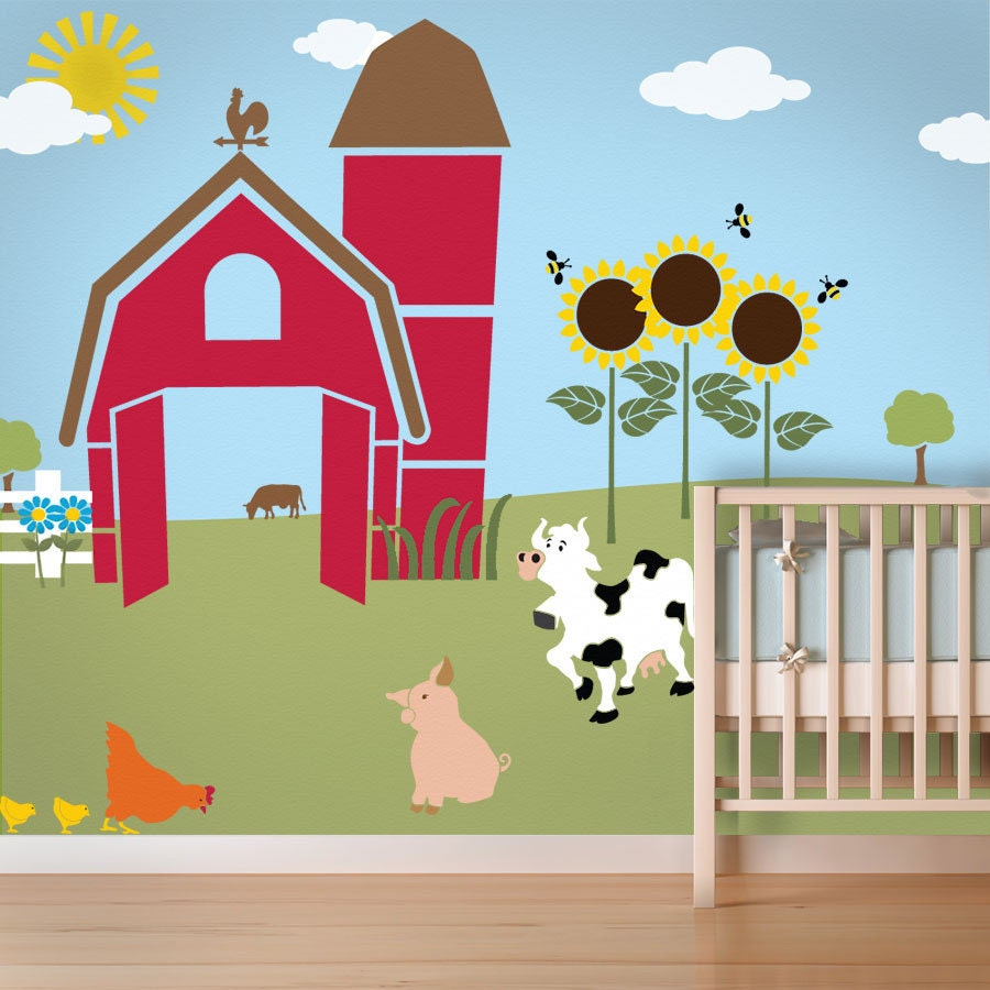 Farm wall mural stencil kit for kids room or baby nursery for Barnyard wall mural