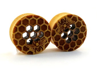 "Cutout Honeycomb with Bee Yellowheart Wooden Plugs 5/8"" (16mm) 7/8"" (22mm) 1"" (25.5mm) 1 1/8"" (28mm) 1 1/4"" (32mm) (38mm) (44mm) Ear Gauges"