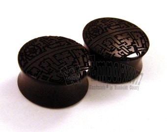 """Deathstar Ebony Wooden Plugs - PAIR - pick a size up to 1 3/4"""" (44mm) including 1 1/4"""" (32mm) 1 1/2"""" (38mm) 1 3/4"""" Organic Wood Ear Gauges"""