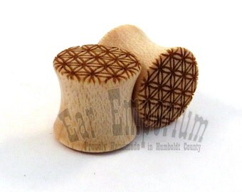 """Flower of Life Maple Wooden Plugs PAIR 0g (8mm) 00g (9mm) (10mm) 7/16"""" (11mm) 1/2"""" (13mm) 9/16"""" (14mm) 5/8"""" 16mm 3/4"""" 19mm 7/8"""" + Ear Gauges"""
