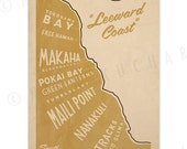 Oahu - Leeward Coast Surf Map - 12x18 Retro Hawaii Print
