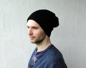 Men's Slouchy Beanie Hat Hand Knit Hat for Men Unisex Beanie Slouch hat  guys Beanie Slouchy mens crochet hat in black