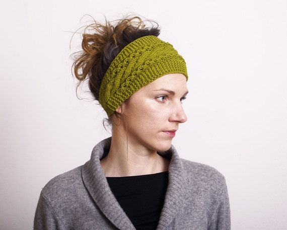 Knit Pattern Headband With Button Closure : Knitted Headband Ear Warmer Cable knit Button Closure Ear