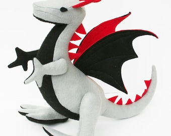 Wild Majestic Dragon Fantasy Plush ~ Eco Friendly, Handcrafted Eco Felt, Stuffed Animal Toy, Boys Gift, Grey Black Red, Stuffed Dragon Toys